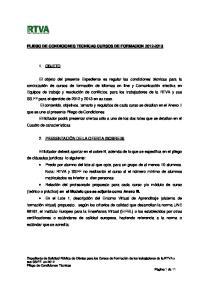PLIEGO DE CONDICIONES TECNICAS CURSOS DE FORMACION