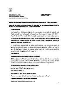 PLIEGO DE ESPECIFICACIONES TECNICAS PARTICULARES INSTALACION ELECTRICA