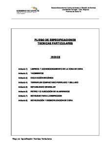PLIEGO DE ESPECIFICACIONES TECNICAS PARTICULARES INDICE