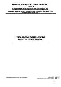 PLIEGO DE ESPECIFICACIONES TECNICAS PARTICULARES