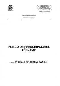PLIEGO DE PRESCRIPCIONES T TECNICAS