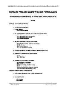 PLIEGO DE PRESCRIPCIONES TECNICAS PARTICULARES