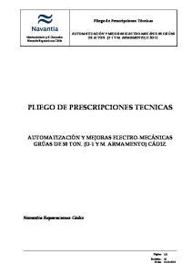 PLIEGO DE PRESCRIPCIONES TECNICAS