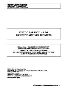 PLIEGO PARTICULAR DE ESPECIFICACIONES TECNICAS