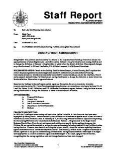 PLNPCM Assisted Living Facilities Zoning Text Amendment ZONING TEXT AMENDMENT