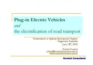 Plug-in Electric Vehicles and the electrification of road transport