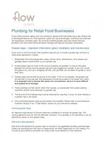 Plumbing for Retail Food Businesses