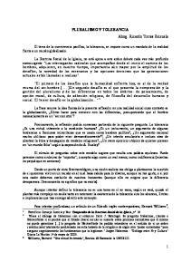 PLURALISMO Y TOLERANCIA Abog. Ricardo Torres Brizuela