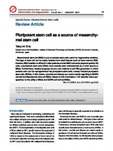 Pluripotent stem cell as a source of mesenchymal stem cell