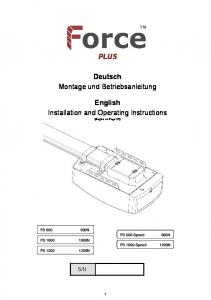 PLUS. Deutsch Montage und Betriebsanleitung. English Installation and Operating Instructions
