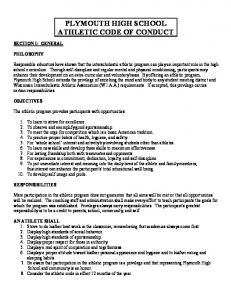 PLYMOUTH HIGH SCHOOL ATHLETIC CODE OF CONDUCT