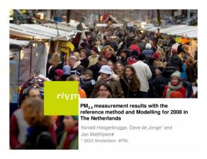PM 2.5 measurement results with the reference method and Modelling for 2008 in The Netherlands