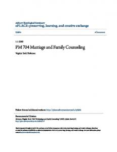 PM 704 Marriage and Family Counseling