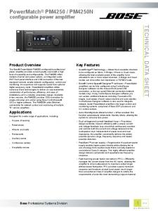 PM4250N TECHNICAL DATA SHEET. configurable power amplifier. Key Features. Product Overview. Applications