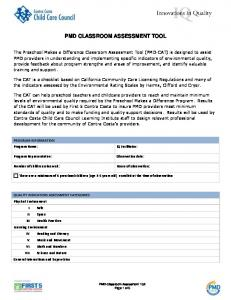PMD CLASSROOM ASSESSMENT TOOL