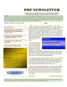 PMF NEWSLETTER. Volume 14, Number 1 January, 2008