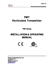 PMT Particulate Transmitter INSTALLATION & OPERATING MANUAL