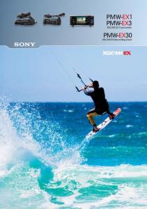 PMW-EX1 PMW-EX3 XDCAM EX Camcorder. PMW-EX30 XDCAM EX Recording Deck