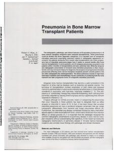 Pneumonia in Bone Marrow Transplant Patients