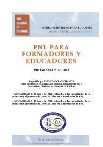 PNL PARA FORMADORES Y EDUCADORES
