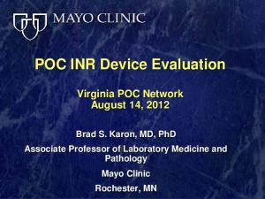 POC INR Device Evaluation
