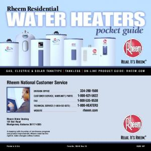 pocket guide Rheem Residential Rheem National Customer Service GAS, ELECTRIC & SOLAR TANKTYPE TANKLESS ON-LINE PRODUCT GUIDE: RHEEM