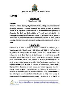 Poder Judicial de Honduras. CIRCULAR 16 de Enero de 1995