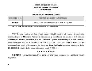 PODER JUDICIAL DEL ESTADO SUPREMO TRIBUNAL DE JUSTICIA PRIMERA SALA SENTENCIAS QUE CAUSARON ESTADO