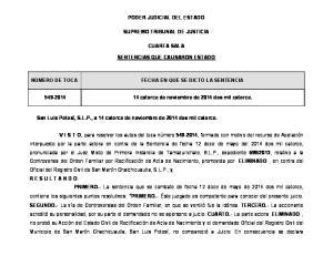 PODER JUDICIAL DEL ESTADO SUPREMO TRIBUNAL DE JUSTICIA CUARTA SALA SENTENCIAS QUE CAUSARON ESTADO