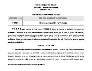 PODER JUDICIAL DEL ESTADO SUPREMO TRIBUNAL DE JUSTICIA SEGUNDA SALA SENTENCIAS QUE CAUSARON ESTADO