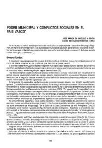 PODER MUNICIPAL Y CONFLICTOS SOCIALES EN EL PAIS VASCO*