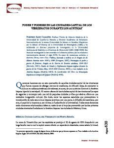 PODER Y PODERES EN LAS CIUDADES-CAPITAL DE LOS VIRREINATOS DURANTE LOS AUSTRIAS *