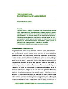 PODER Y RESISTENCIA EN LA COTIDIANEIDAD DE LA VIDA ESCOLAR
