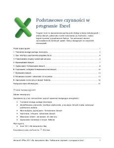 Podstawowe czynnos ci w programie Excel