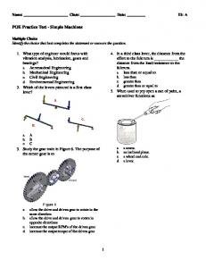 POE Practice Test - Simple Machines
