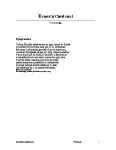 Poemas. Epigramas. Ernesto Cardenal Poemas 1. Ernesto Cardenal. De Antología poética, La Habana, Cuba, 2005