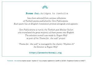 Poems for bridges to Anatolia