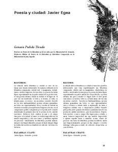 Poesía y ciudad: Javier Egea