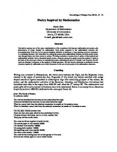Poetry Inspired by Mathematics