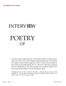 POETRY OF INTERVIEW IN THEIR OWN WORDS