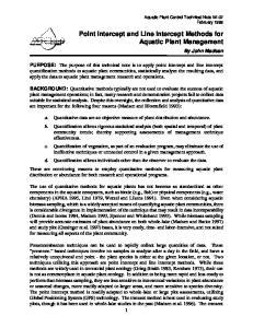 Point Intercept and Line Intercept Methods for Aquatic Plant Management