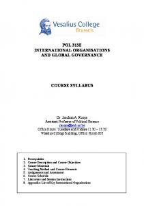 POL 313E INTERNATIONAL ORGANISATIONS AND GLOBAL GOVERNANCE COURSE SYLLABUS
