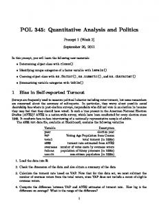 POL 345: Quantitative Analysis and Politics
