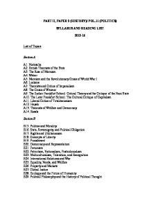 POL.11 (POLITICS) SYLLABUS AND READING LIST