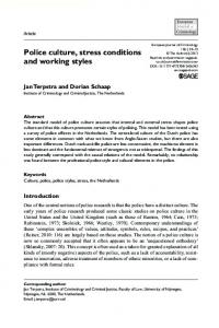 Police culture, stress conditions and working styles