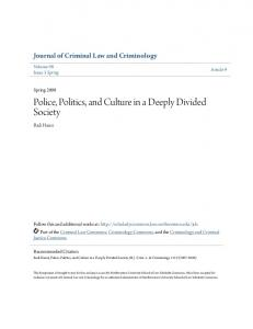 Police, Politics, and Culture in a Deeply Divided Society