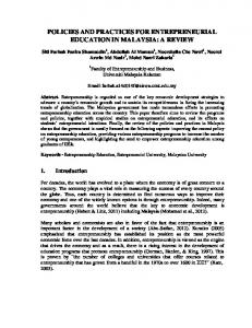 POLICIES AND PRACTICES FOR ENTREPRENEURIAL EDUCATION IN MALAYSIA: A REVIEW