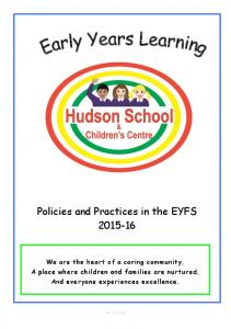 Policies and Practices in the EYFS