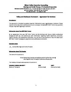 Policy and Disclosure Statement Agreement for Services