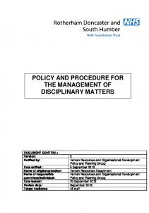 POLICY AND PROCEDURE FOR THE MANAGEMENT OF DISCIPLINARY MATTERS
